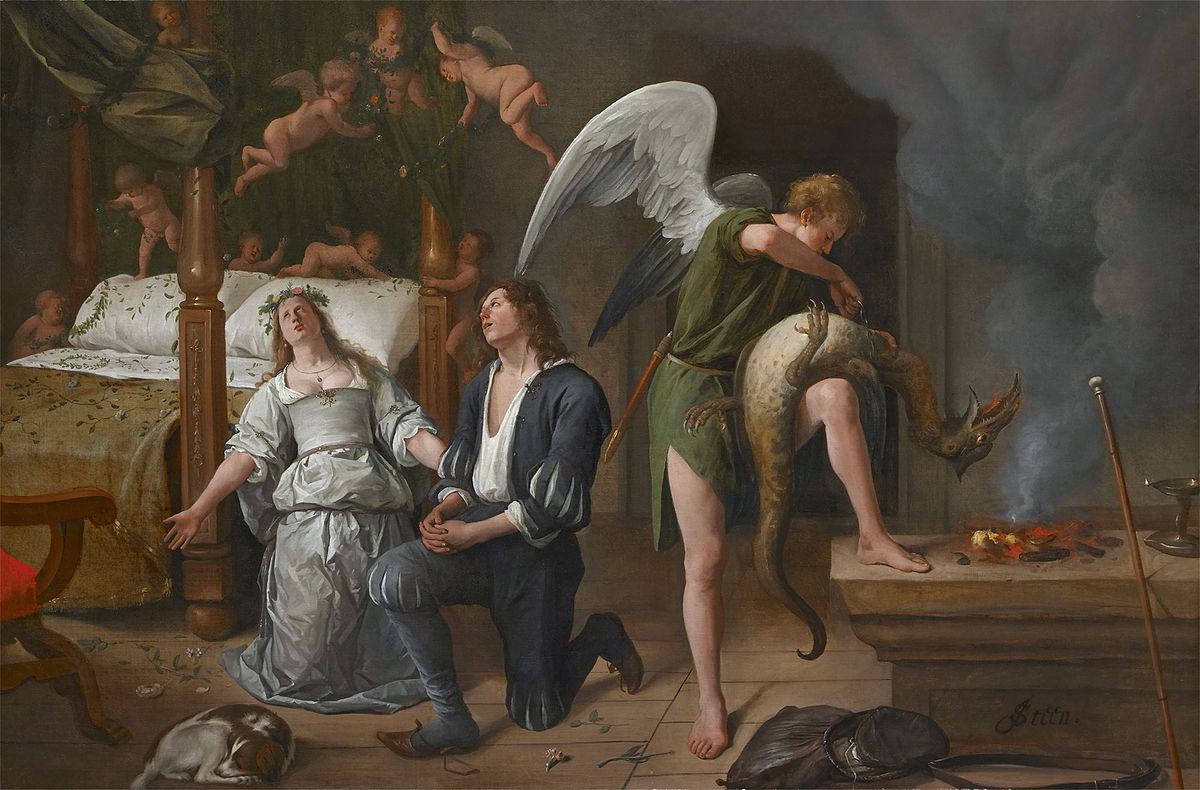 The Marriage bed of Tobias and Sarah by Jan Steen 1660